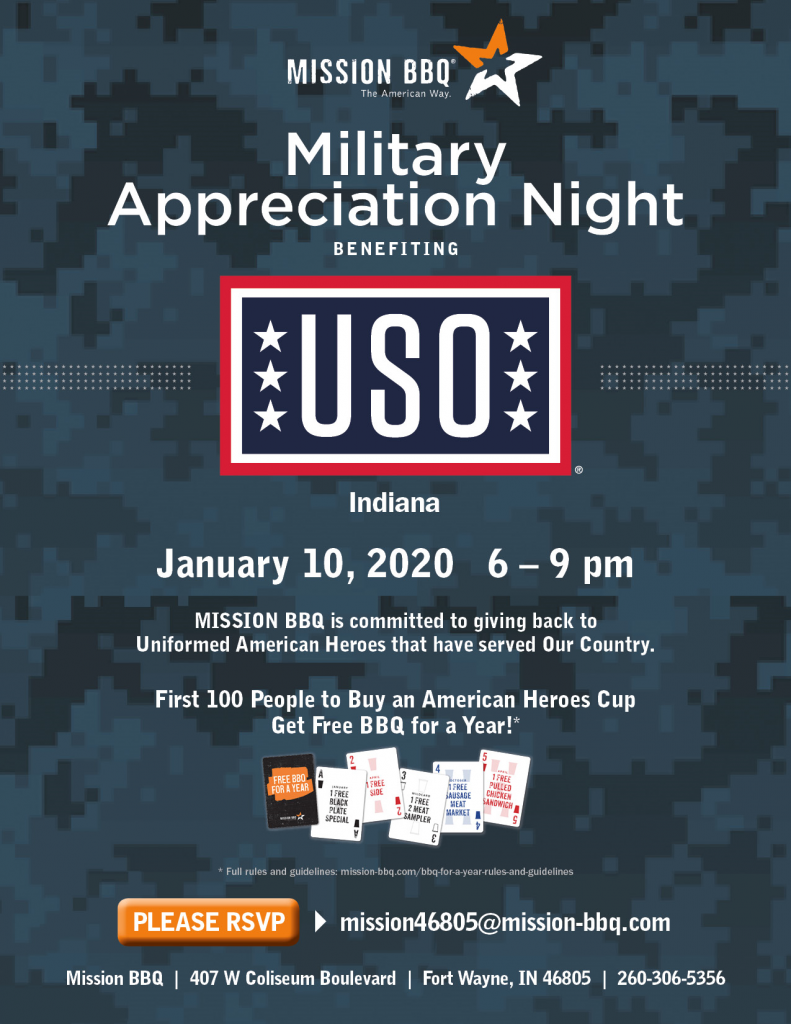 Flyer about Mission BBQ's Military Appreciation Night.