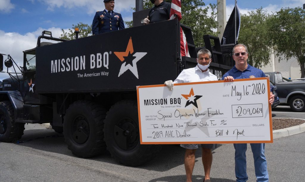 Two men holding donation check