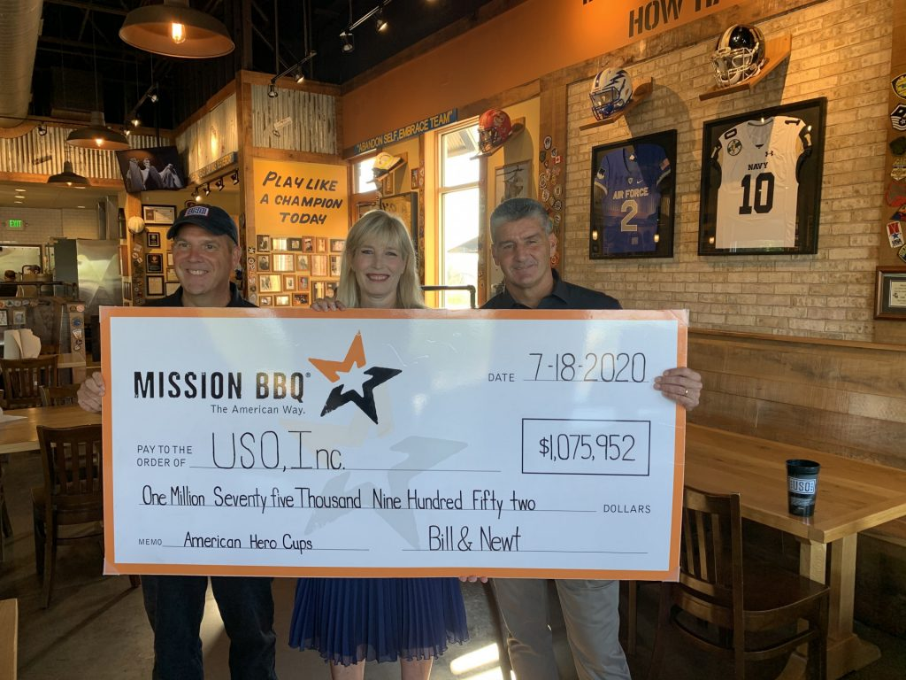 Three people holding donation check.