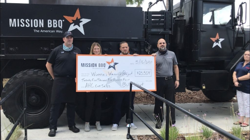 Four people holding a donation check.